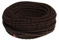 Ретро кабель 3х2.5 плетеный, в двойной ПВХ изоляции с пламегасительным наполнителем, покрыт антигорючими нитеевыми волокнами, в упаковке 50м, коричневый