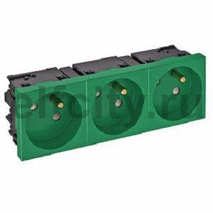 Розетка тройная 33° Modul45connect, франц. стандарт, 250 В, 16A (зеленый)