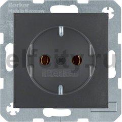 Розетка с заземляющими контактами 16 А / 250 В, автоматические зажимы, пластик антрацит