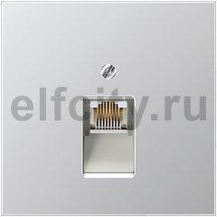 Розетка телефонная одинарная RJ11, алюминий