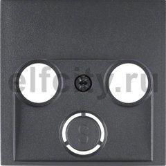 Центральная панель для антенной розетки 2 и 3 отверстия цвет: антрацитовый, матовый Berker B.1/B.3/B.7 Glas