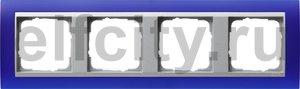 Рамка 4 поста, для горизонтального/вертикального монтажа, пластик матово-синий/алюминий