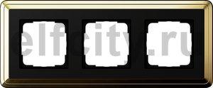 Рамка 3 поста, для горизонтального/вертикального монтажа, латунь/черный