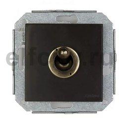 Выключатель тумблерный одноклавишный, универсальный (вкл/выкл с 1-го 2-х мест) 10 А / 250 В, для внутреннего монтажа, бронза / коричневый