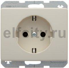 Розетка с заземляющими контактами 16 А / 250 В, автоматические зажимы, пластик кремовый (белый с блеском)