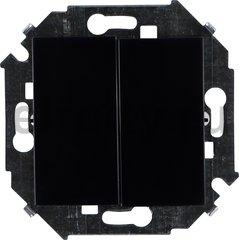 Выключатель двухклавишный, проходной (вкл/выкл с 2-х мест), 10 А / 250 В, черный