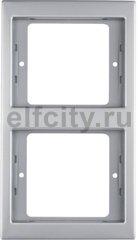 Рамка 2 поста, для вертикального монтажа, нержавеющая сталь