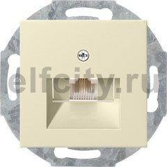 Розетка телефонная одинарная RJ11, пластик кремовый глянцевый