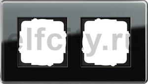 Рамка 2 поста, для горизонтального/вертикального монтажа, стекло черное Glass C