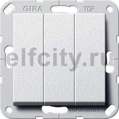"""Выключатель """"Британский стандарт"""" 3-х клавишный, 10 А / 250 В, пластик под алюминий"""