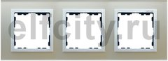 Рамка 3 поста, для горизонтального/вертикального монтажа, серебренное стекло