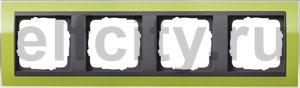 Рамка 4 поста, для горизонтального/вертикального монтажа, пластик прозрачный зеленый-антрацит