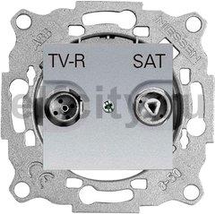 Розетка телевизионная одиночная TV-FM/SAT, диапазон частот от 47 до 2150 Mгц, серебристый