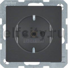 Розетка с заземляющими контактами 16 А / 250 В, с защитой от детей, автоматические зажимы, антрацитовый, с эффектом бархата