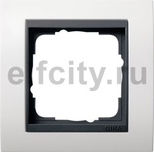 Рамка 1 пост, пластик матово-белый/антрацит