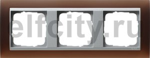 Рамка 3 поста, для горизонтального/вертикального монтажа, пластик матово-коричневый/алюминий
