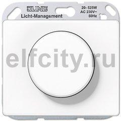 Диммер (светорегулятор) поворотный 20-525 Вт для ламп накаливания и галогенных 220В, пластик белый глянцевый