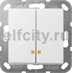 Выключатель двухклавишный с подсветкой, 10 А / 250 В, пластик белый глянцевый