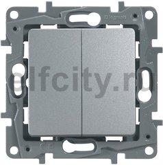 Выключатель/переключатель двухклавишный - Etika - 10 A - 250 В~ - алюминий