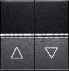 Механизм выключателя жалюзи клавишный, с фиксацией, 2-модульный, серия Zenit, цвет антрацит