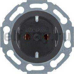 Розетка с заземляющими контактами 16 А / 250 В, автоматические зажимы, пластик черный глянцевый