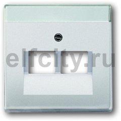 Плата центральная (накладка) для 2-постовой телекоммуникационной розетки 0214, 0215, 0217, 0218, с полем для надписи, серия pur/стал
