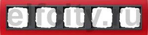 Рамка 5 постов, для горизонтального/вертикального монтажа, пластик матово-красный/антрацит