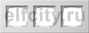 Рамка 3 поста, для горизонтального/вертикального монтажа, пластик белый глянцевый