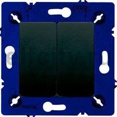 Выключатель двухклавишный, 10 А / 250 В, черный