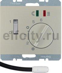 Регулятор температуры помещения пола с замыкающим контактом, с центральной панелью и светодиодом, K.5, цвет: стальной, лак