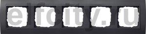Рамка 5 постов, для горизонтального/вертикального монтажа, пластик черный/антрацит