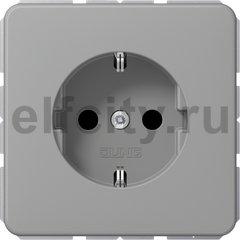 Розетка с заземляющими контактами 16 А / 250 В, автоматические зажимы, серый