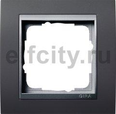 Рамка 1 пост, пластик черный/алюминий