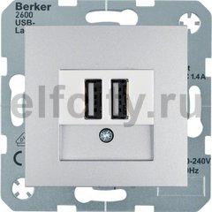 Розетка двойная USB, используется для зарядки мобильных устройств, пластик под алюминий