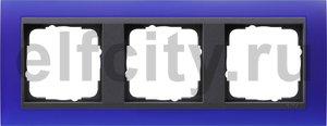 Рамка 3 поста, для горизонтального/вертикального монтажа, пластик матово-синий/антрацит