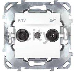 Розетка телевизионная одиночная TV-FM/SAT , диапазон частот от 4 до 2400 Mгц, пластик белый
