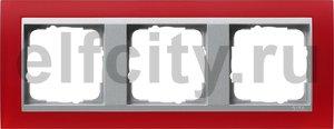 Рамка 3 поста, для горизонтального/вертикального монтажа, пластик матово-красный/алюминий