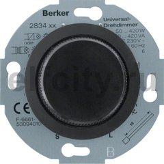 Диммер (светорегулятор) поворотный 50-420 Вт для ламп накаливания и галогенных 220В, с мягкой регулировкой, пластик черный глянцевый