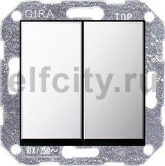 Выключатель двухклавишный, проходной (вкл/выкл с 2-х мест) 10 А / 250 В, хром