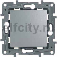 Выключатель, переключатель одноклавишный проходной, с подсветкой (вкл/выкл с 1-го и 2-х мест), 10 А / 250 В, алюминий