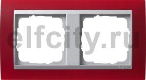 Рамка 2 поста, для горизонтального/вертикального монтажа, пластик матово-красный/алюминий