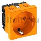 Розетка одинарная 0° с з/к, 250 В, 16A (оранжевый)