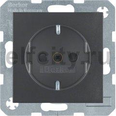 Розетка с заземляющими контактами 16 А / 250 В, с защитой от детей, автоматические зажимы, пластик антрацит