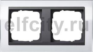 Рамка 2 поста, для горизонтального/вертикального монтажа, пластик прозрачный белый-антрацит