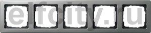 Рамка 5 постов, для горизонтального/вертикального монтажа, нержавеющая сталь серия 21