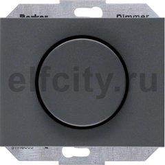 Диммер (светорегулятор) поворотный 60-400 Вт для ламп накаливания и галогенных 220В, пластик антрацит
