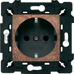 Розетка с заземляющими контактами 16 А / 250 В, состаренная медь/черный