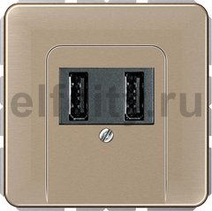 Зарядное USB устройство на два выхода , 2х750 мА / 1х1500 мА, светлая бронза