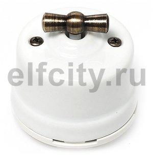 Выключатель поворотный 2-х позиционный для наружного монтажа проходной, белый