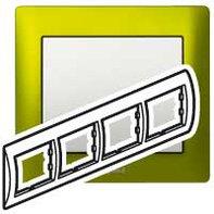 Рамка 4 поста, для горизонтального монтажа, зеленый металл